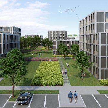 Renderirana slika parka med stanovanjskimi objekti