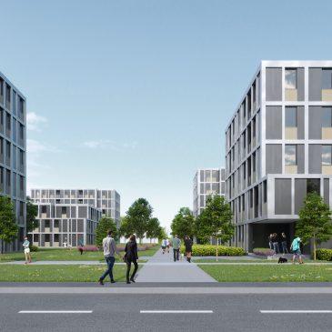Renderirana slika stanovanjske soseske ter vhodov v objekte iz strani ceste