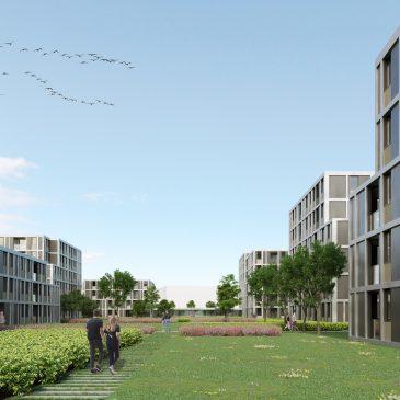 Renderirana slika manjšega parka med stanovanjskimi objekti