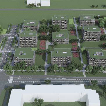 Renderirana slika vseh stanovanjskih objektov iz ptičje perspektive