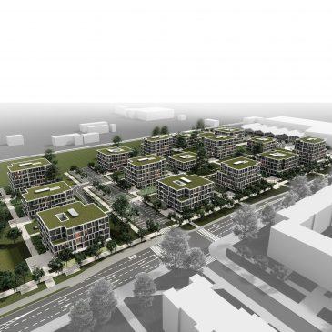 SLIKA ZGORAJ 1. jpg : Slika celotne soseske ob Vlahovičevi ulici, s severa proti juguzgoraj-1