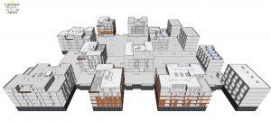 Na sliki je prikaz že izvedenih del v digitalnem 3D modelu soseske Novo Brdo, vidnih je 11 objektov v enoti E2