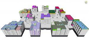 Na sliki je prikaz načrtovanih del v digitalnem 3D modelu soseske Novo Brdo, vidnih je 11 objektov v enoti E2