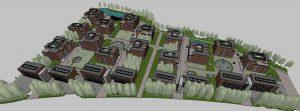 Na sliki je prikazan celoten digitalni 3D model soseske Novo Brdo, vseh 18 objektov, zunanja ureditev in zelene površine