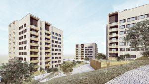 Slika prikazuje tri večstanovanjske stavbe projekta Nad Dolinsko v Kopru. Objekti imajo osem nadstropji in podzemne garaža. slika prikazuje objekte iz  zadnje strani, zelenice in peš poti med njimi.