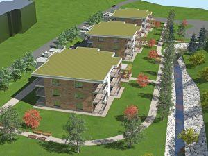 Na sliki so trije večstanovanjski objekti oskrbovanih stanovanj, ki se bodo gradili v občini Šmarje pri Jelšah